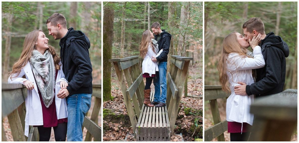 Winter Red River Gorge engagement session in Kentucky on the hiking trail to Left Flank.