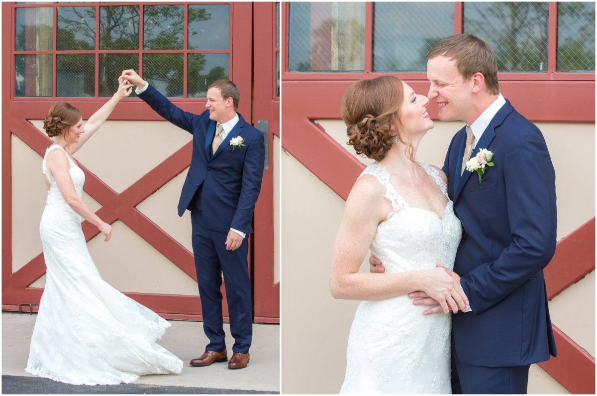 Collage of photos featuring a bride and groom's first look at Evans Orchard in Georgetown, KY