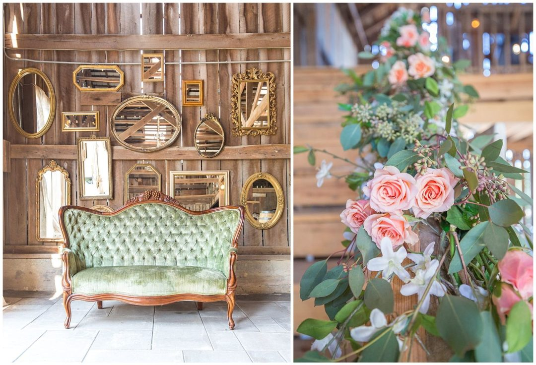 Wedding details and flowers at the Barn at Springhouse in Nicholasville, KY