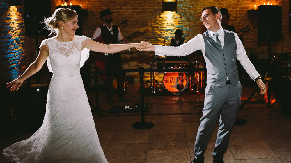 Bride and grooms first dance at The Stone Barn
