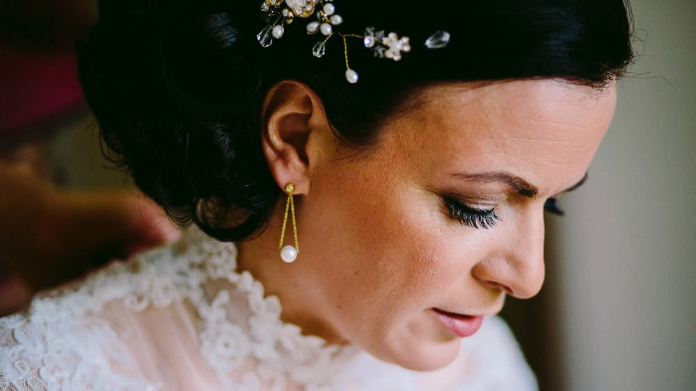 Close up of bride before her Bartley Lodge wedding