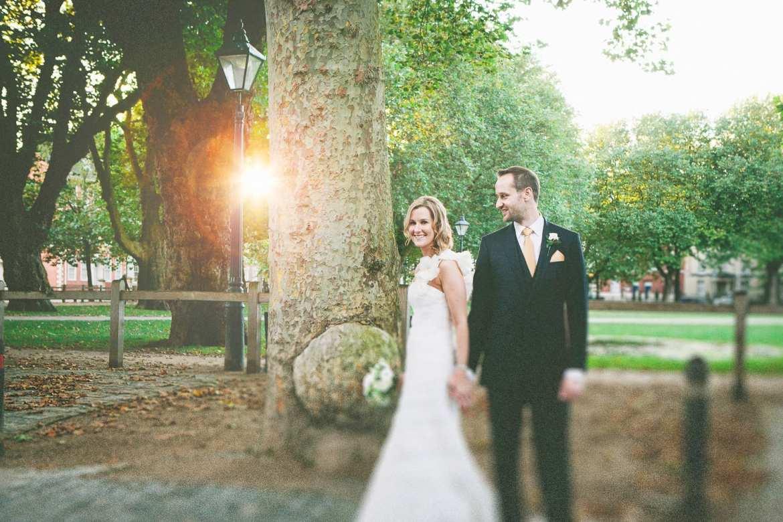 The bride and groom in Queen's Park Bristol