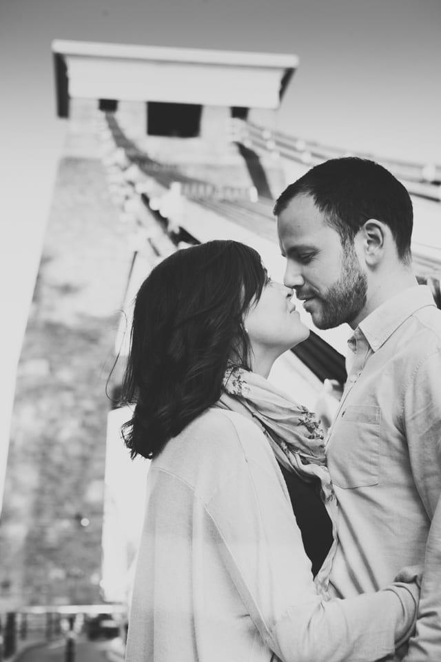 couple on Clifton Suspension Bridge