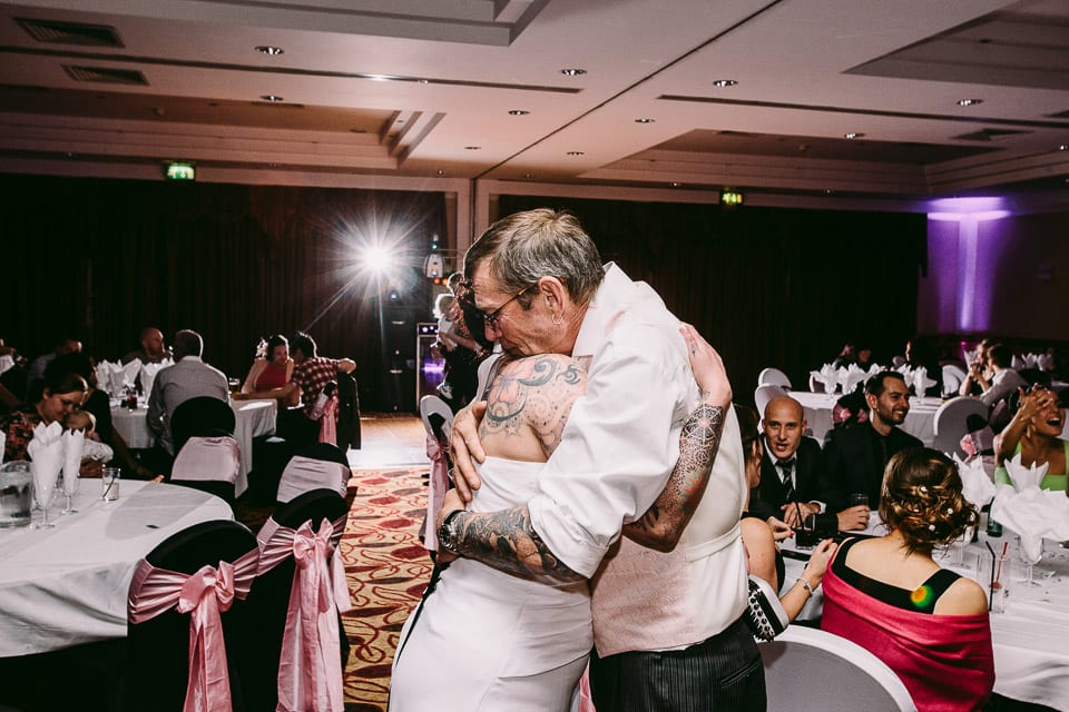 tattooed bride and dad