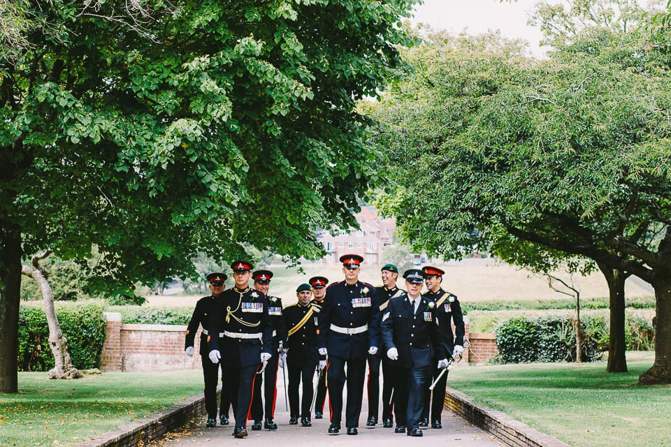 groom and honour guard arrive