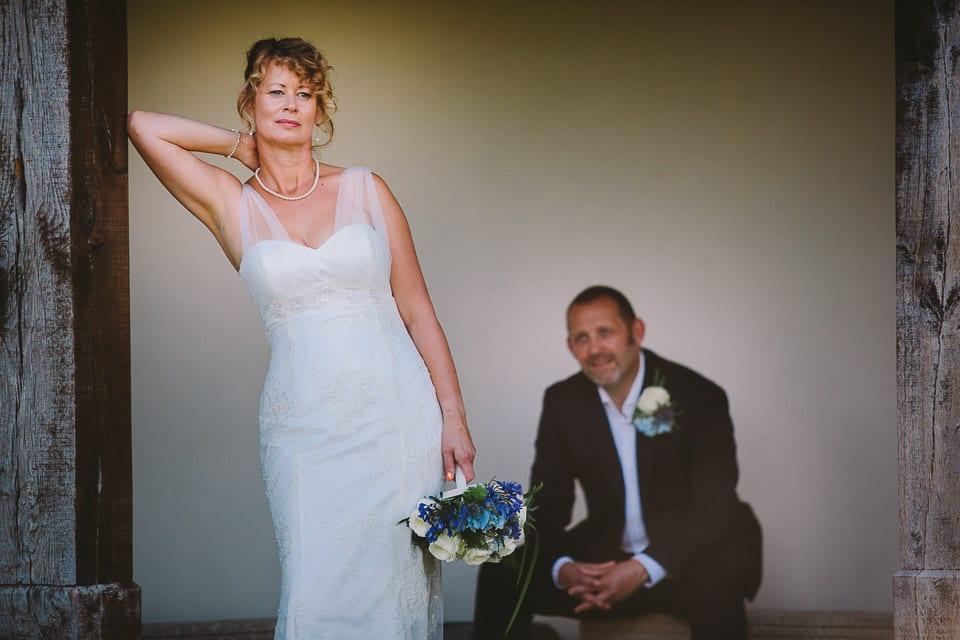 Bride and groom in gazebo