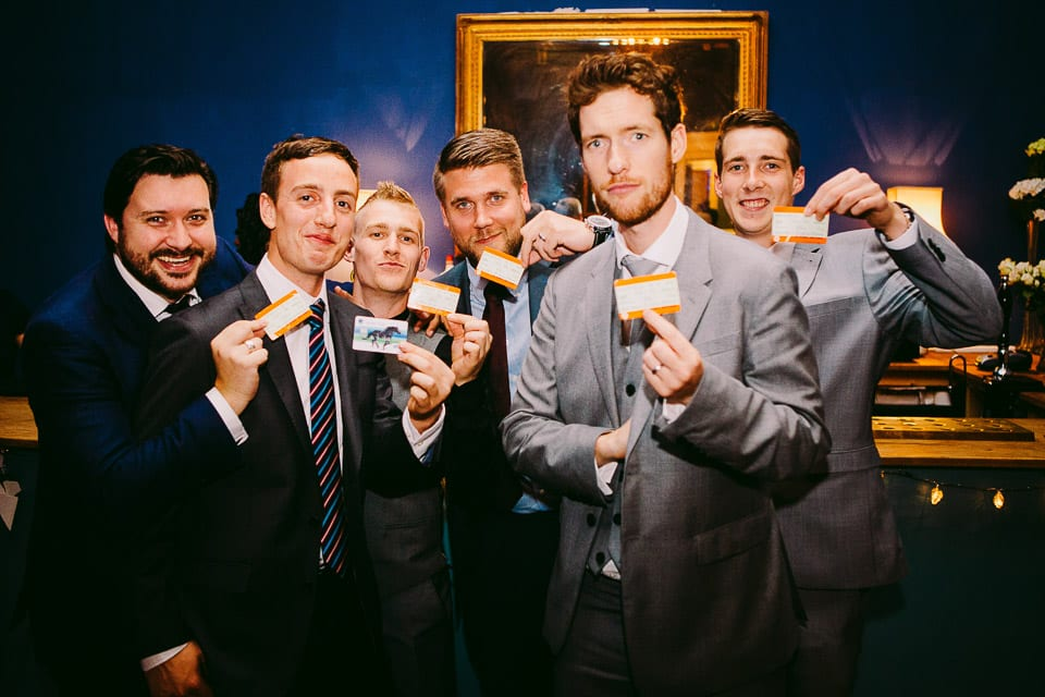 The weddings guests showing their rail tickets
