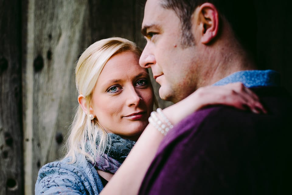 Portrait of engaged couple at Bradford on Avon