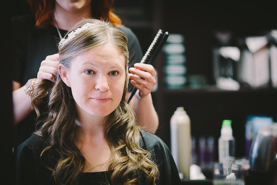 Bride in the hairdressers having her hair done