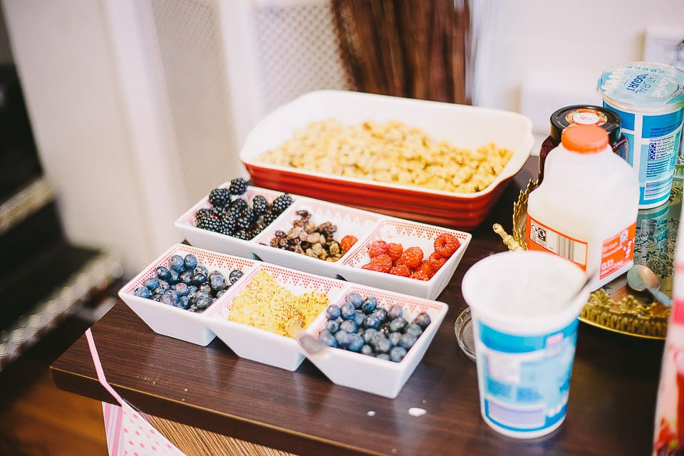 Layout of breakfast food for the bride and bridesmaids at the hairdressers