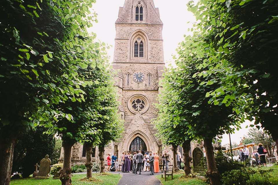 View of Christ Church with wedding guests outside