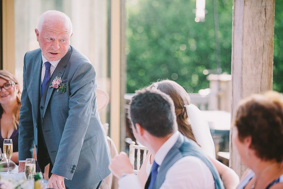 Father of the bride giving his speech at Abbey House Gardens