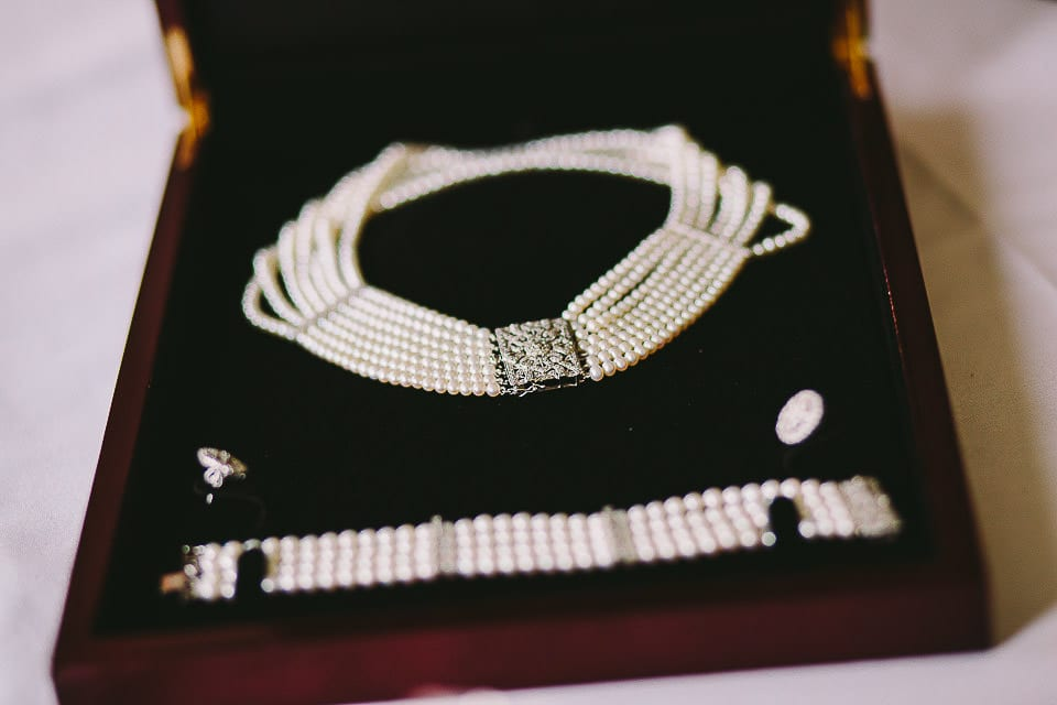 Close up of the brides jewellery in presentation box at Bath Spa Hotel