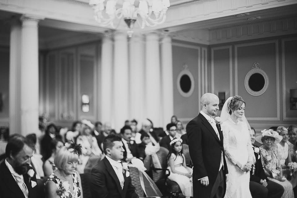 Black and white wide view of the wedding ceremony at Bath Spa Hotel
