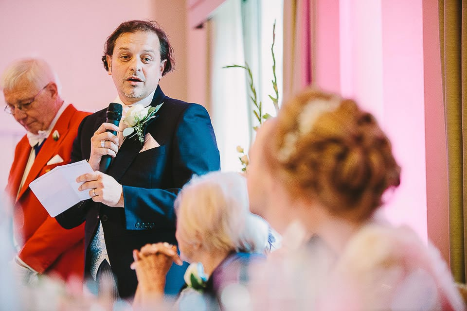 Brother of the bride giving his speech at Bath Spa Hotel