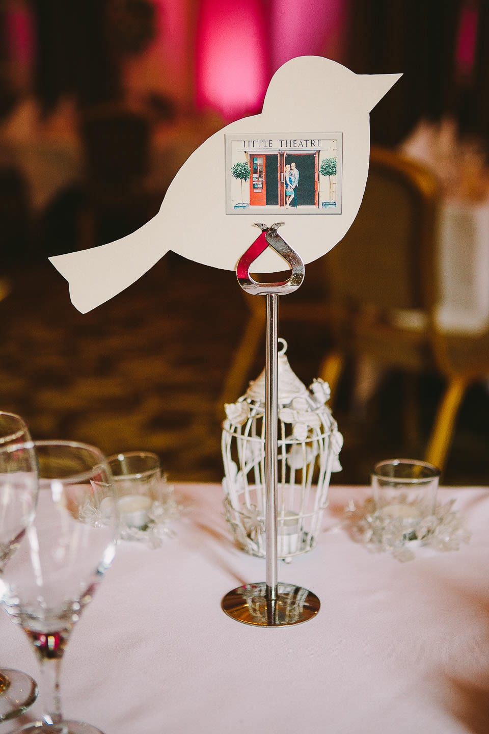 Close up of table name with picture of the bride and groom at Bath Spa Hotel