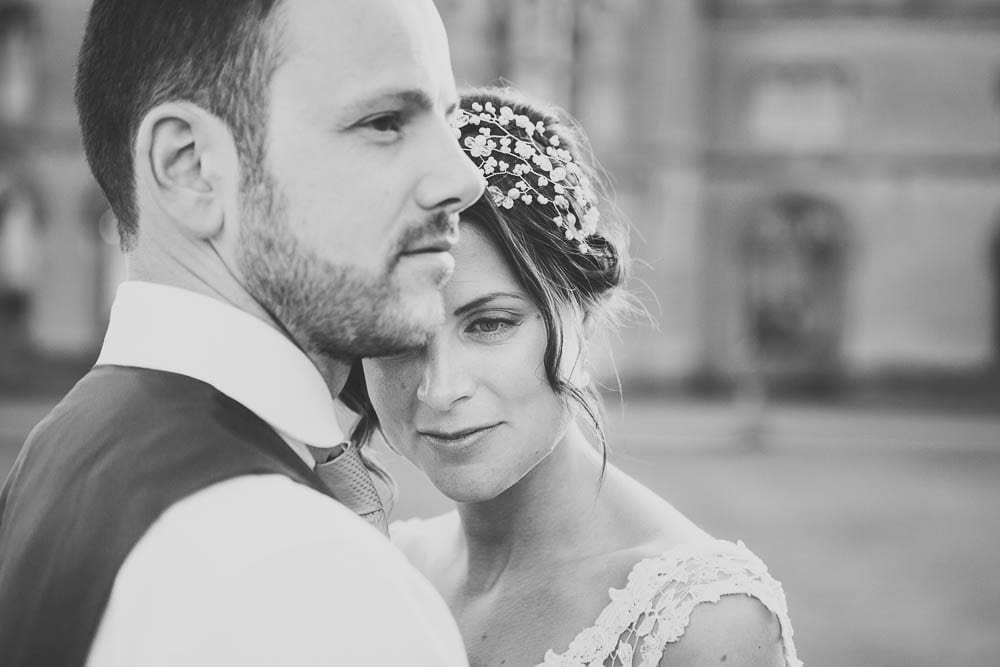 Black and white portrait of the bride and groom at Grittleton House