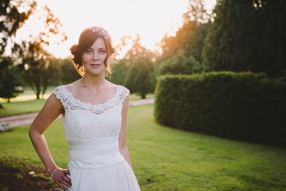 Sunset portraid of the bride at Grittleton House