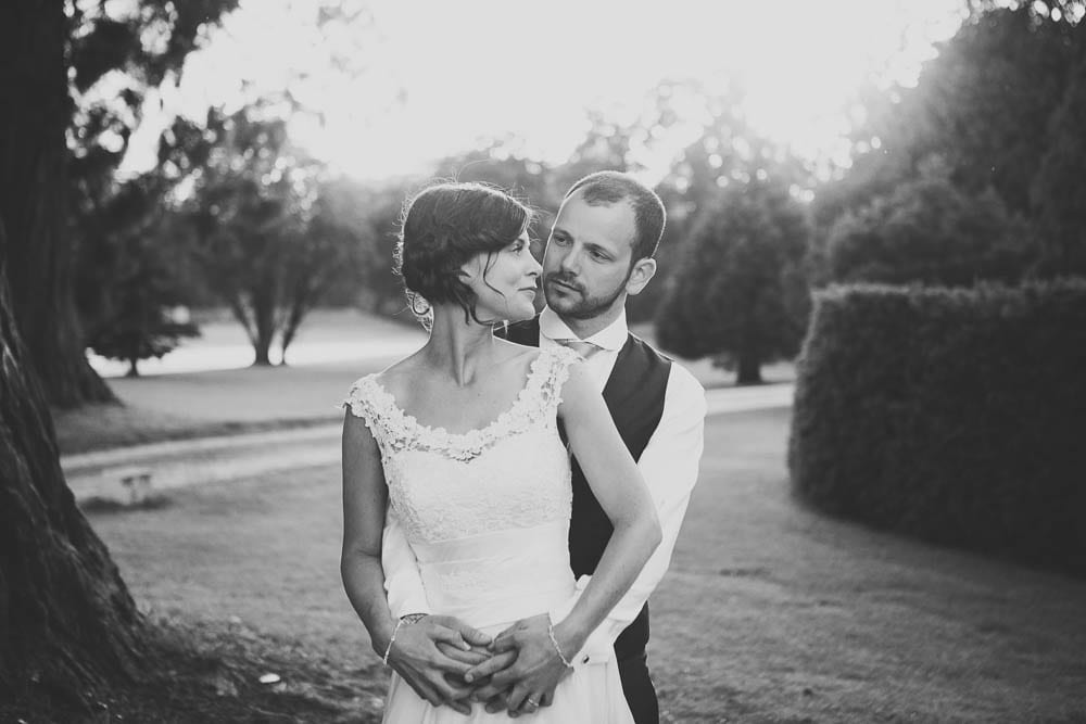 Black and white portrait of bride and groom at Grittleton House