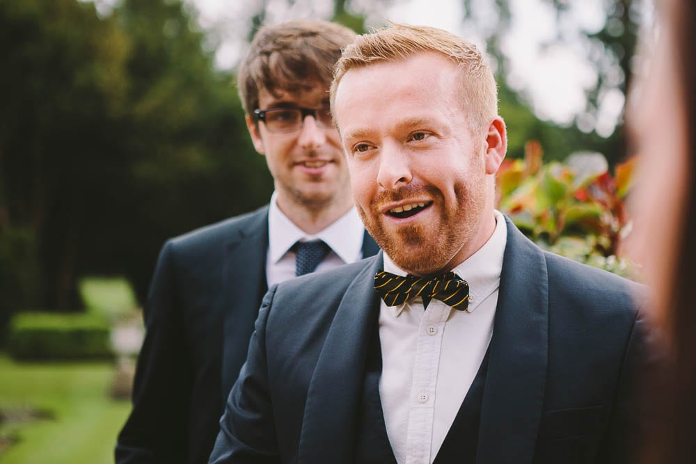 Groomsmen in the gardens of Grittleton House
