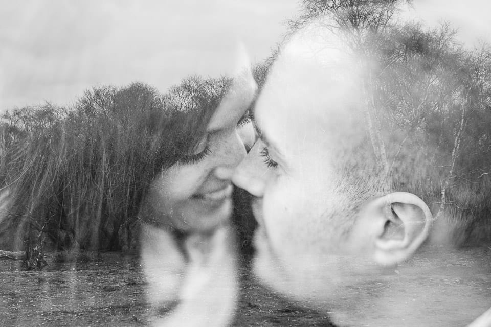 Double exposure image of engaged couple in the New Forest