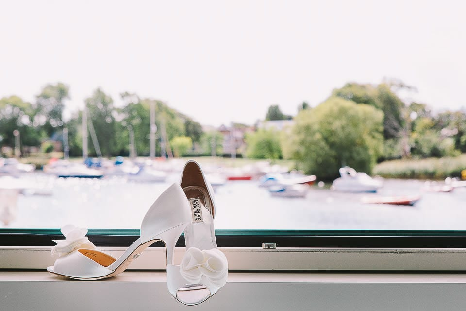 Wedding shoes in the window at The Captains Club Hotel
