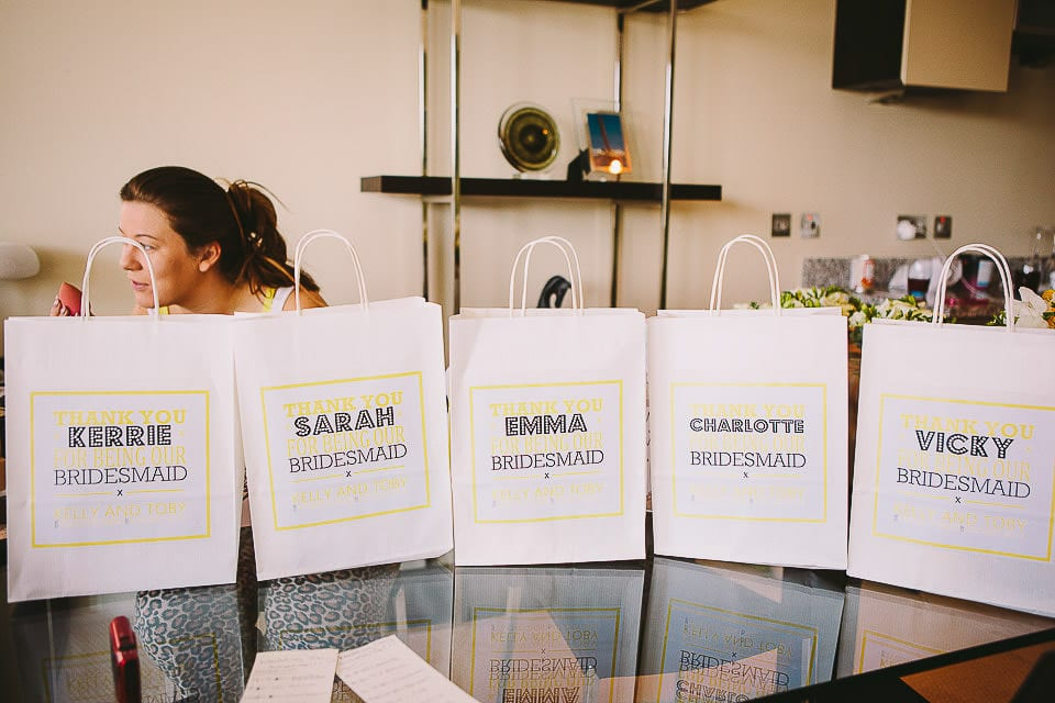 Bags with gifts for the bridesmaids at The Captains Club Hotel