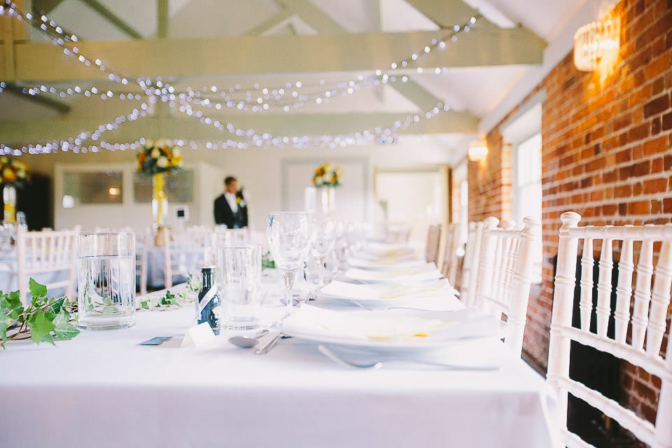 View of the top table for wedding breakfast at Sopley Mill