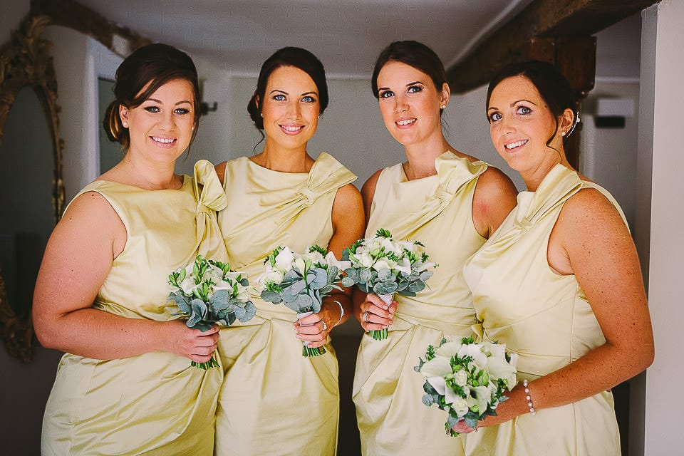 Portrait of bridesmaids inside Sopley Mill