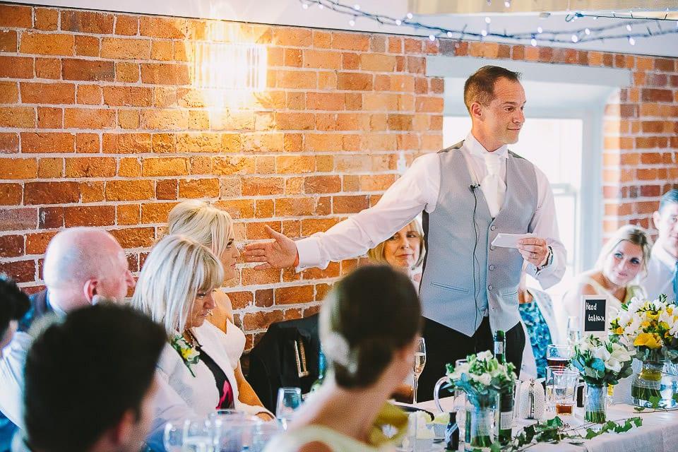 Groom giving his speech at wedding breakfast at Sopley Mill
