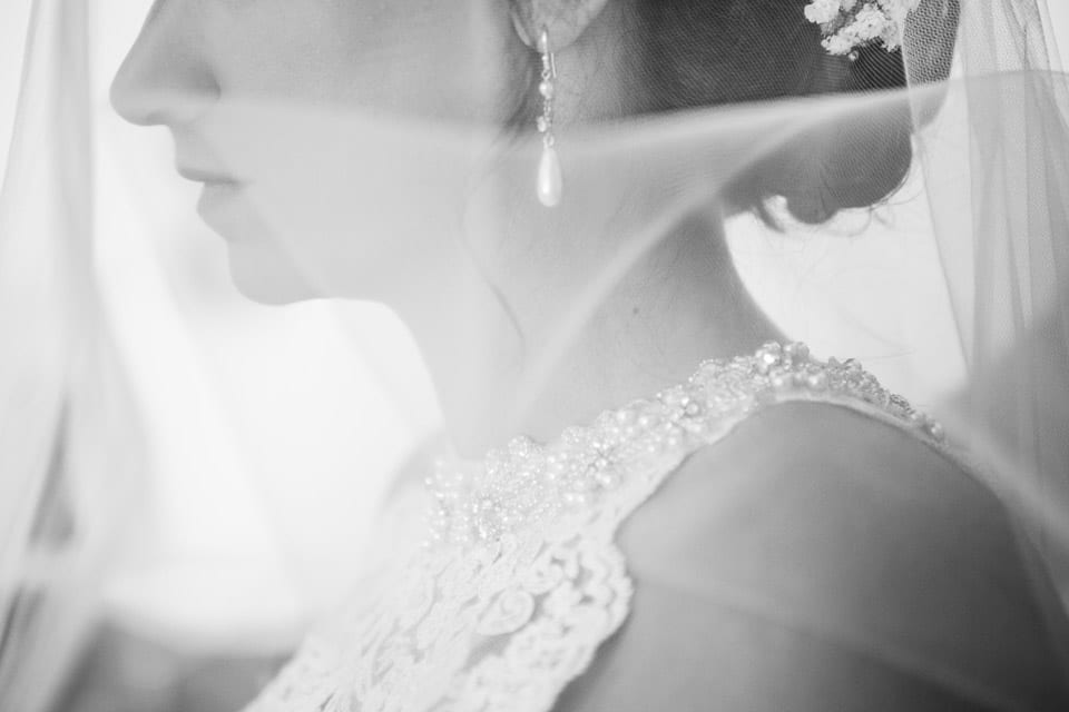 Black and white close up of bride with veil
