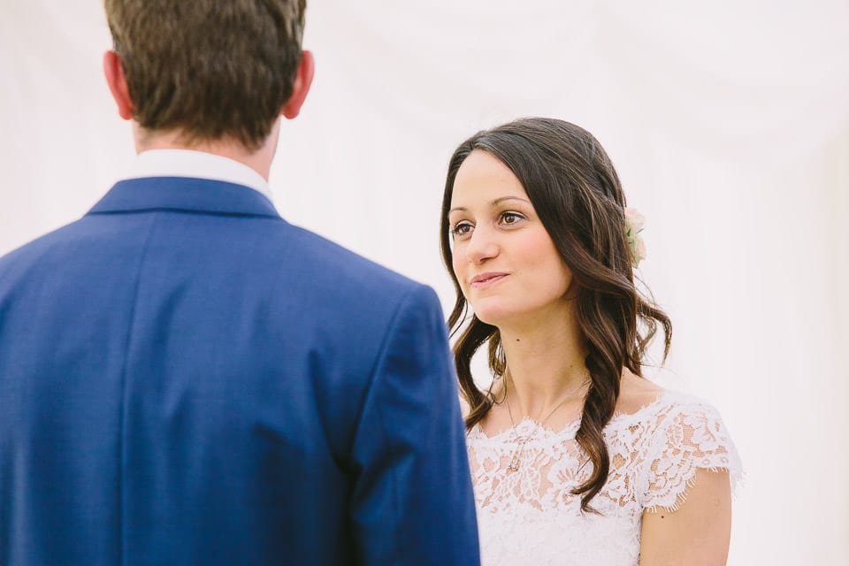 Close up of bride and groom exchanging vows