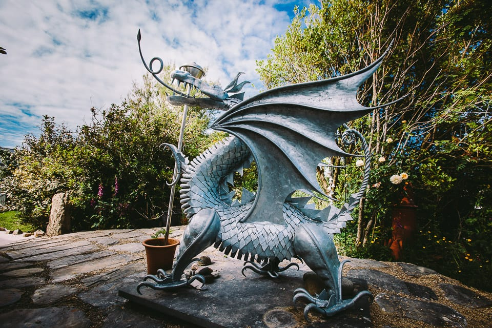 Carved Welsh dragon in the garden