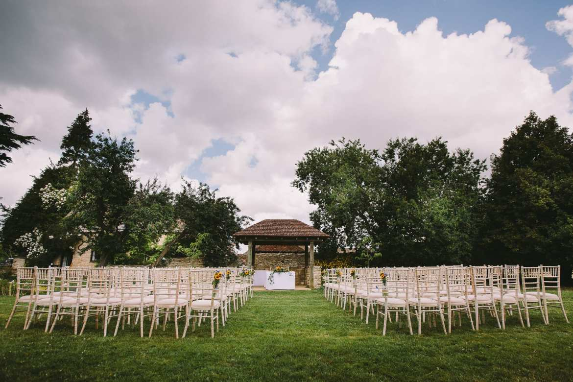 Image of chairs laid out for outdoor ceremony