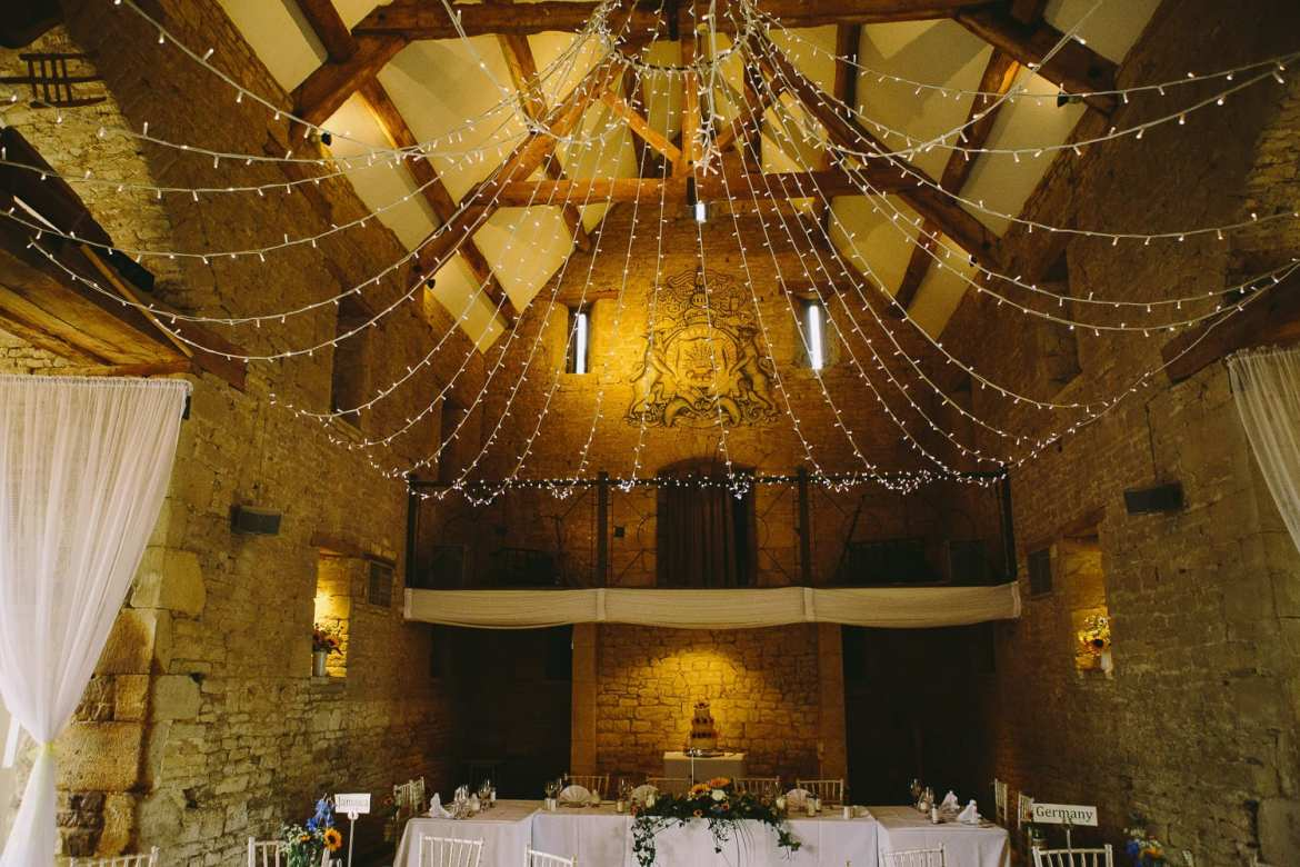 View of top table inside barn