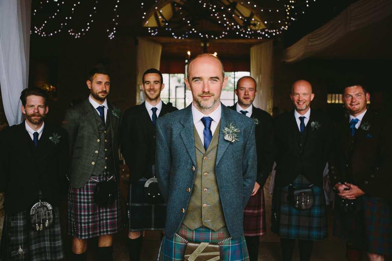 Groom and his groomsmen in kilts