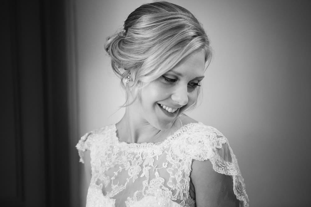 Black and white portrait of the bride at The Wheatsheaf Inn