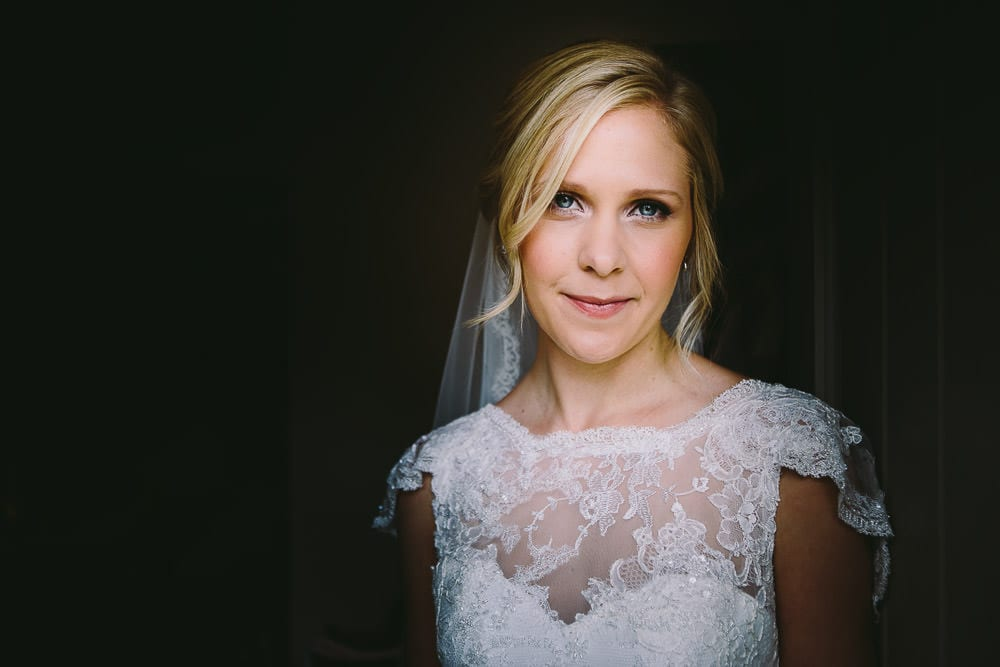 Portrait of the bride before leaving for Cripps Stone Barn