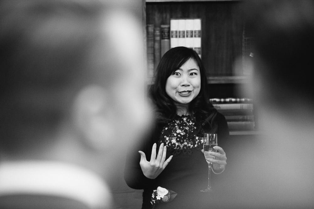 Bridesmaid giving a speech for the grooms at The Hoxton London