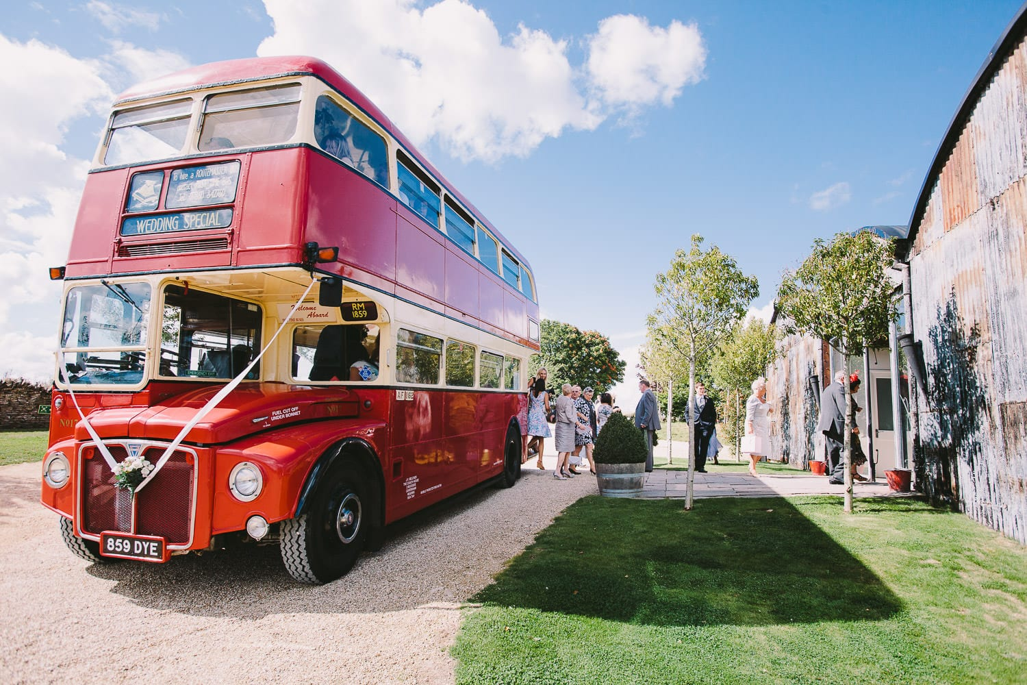 Guests arrive by bus to Cripps Stone Barn