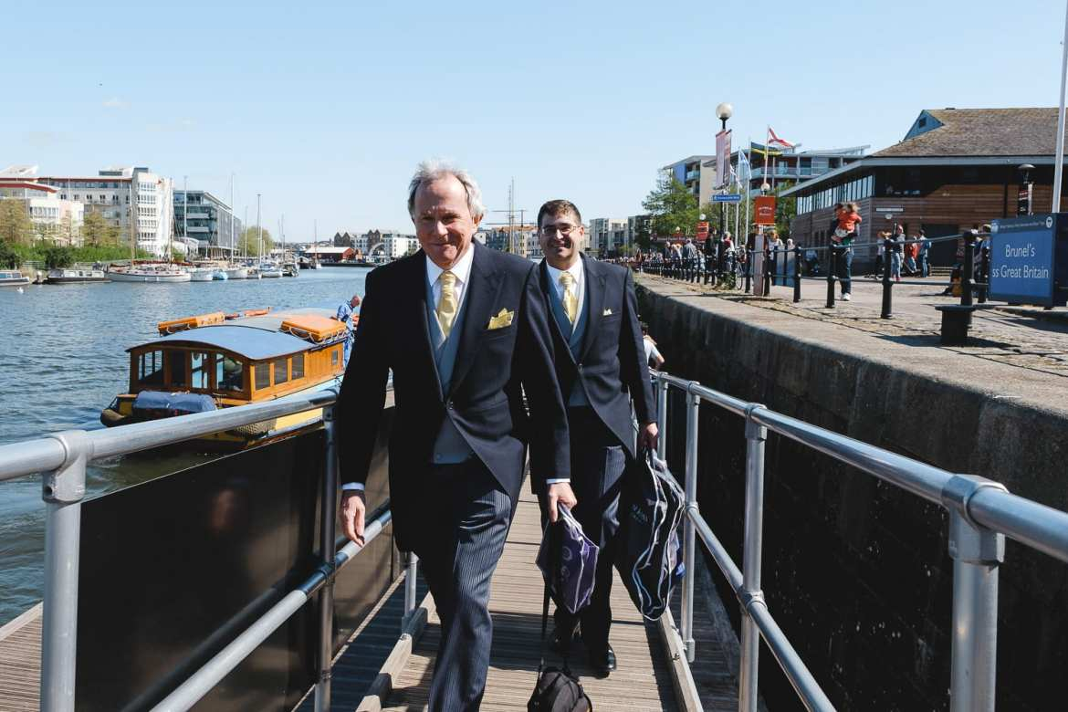 The groom and best man arrive at the SS Great Britain