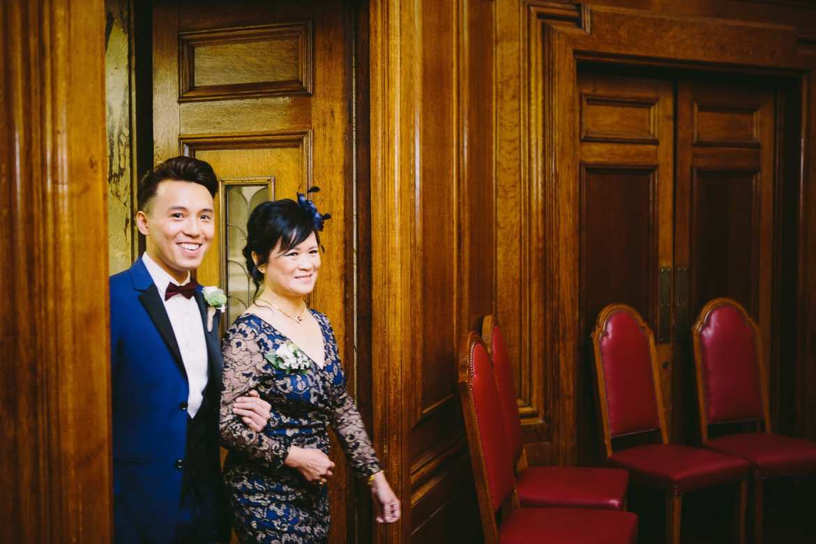 Groom's entrance with his mother