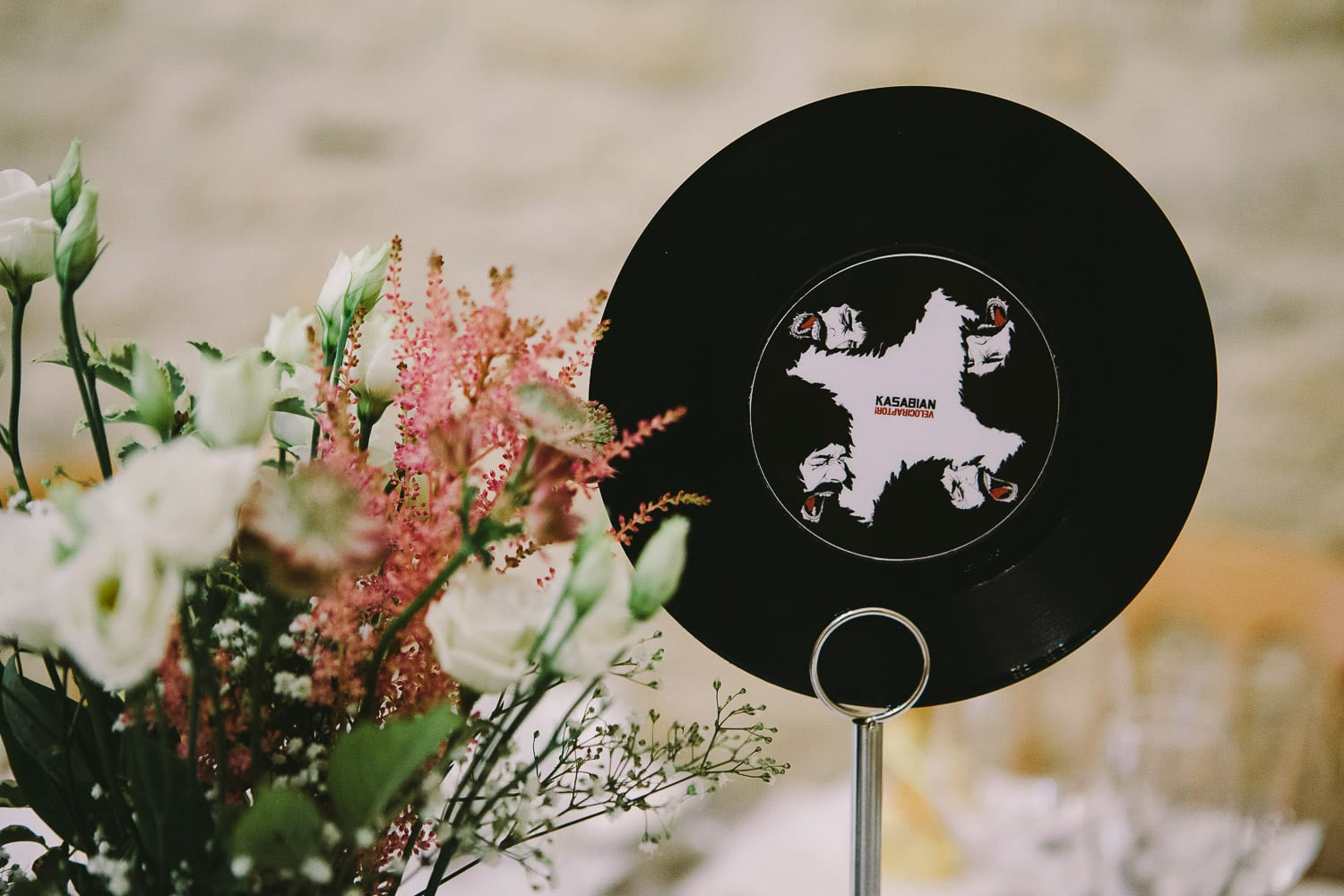 Tables themed with viyl LPs