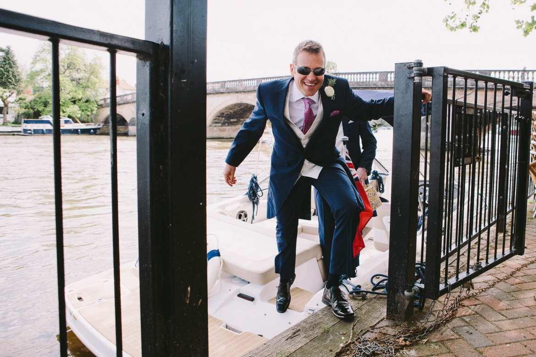 The groom lands at Henley bridge