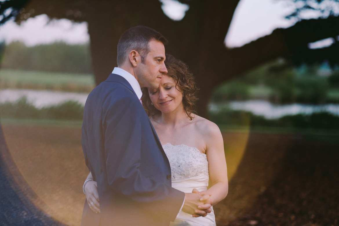 Portrait of bride and groom in the gardens at Greenlands