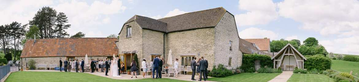 Wedding guests at Kingscote Barn