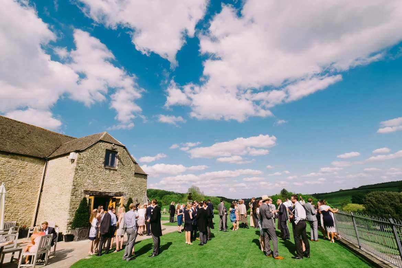 Wedding guests at Kingscote Barn