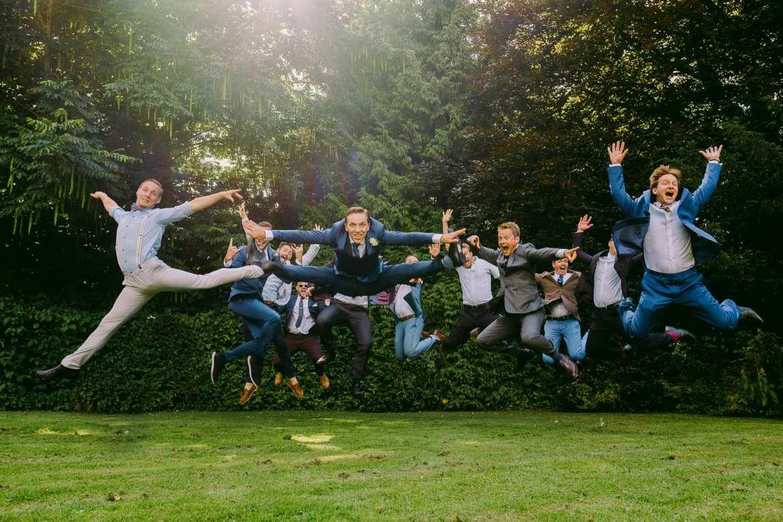 Groom and groomsmen jump shot with the fujifilm x-pro2