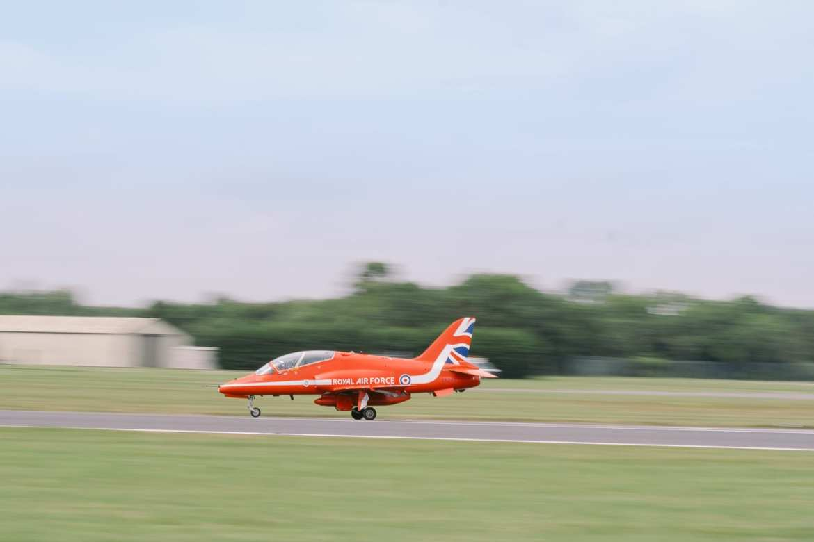 One of the red arrows lands at RIAT