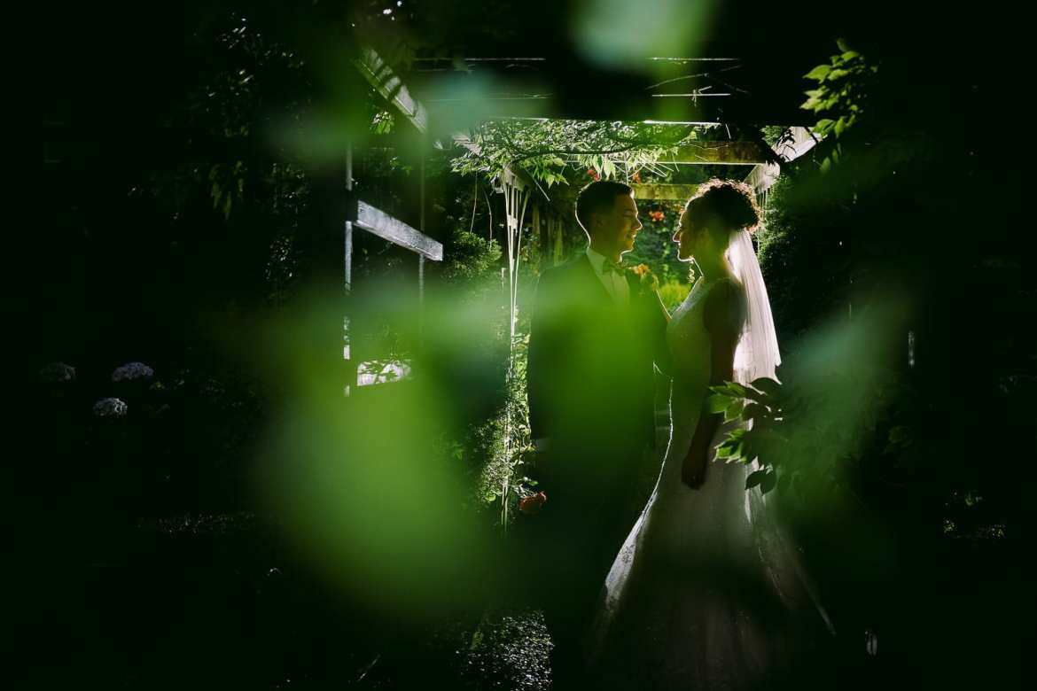 Bridal portraits in the gardens at Nunsmere Hall